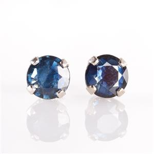 14k White Gold Round Cut Sapphire Solitaire Stud Earrings .80ctw