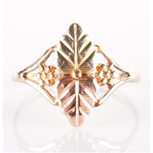 10k Multi-Tone Black Hills Gold Floral and Leaf Style Ring 1.3g Size 7