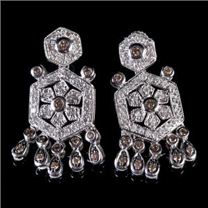 14k White Gold Round Cut Cognac Diamond /  Diamond Dangle Post Earrings 1.44ctw