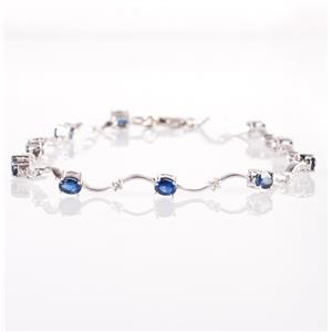 14k White Gold Oval Cut Sapphire & Diamond Bracelet W/ Spring Ring Clasp 2.10ctw