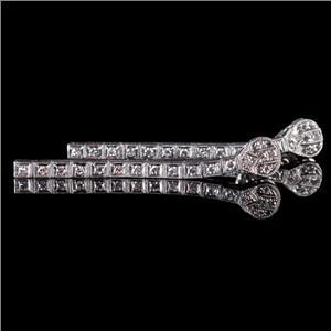 "Vintage 1910's Platinum Single Cut ""F"" Diamond Dangle Earrings .48ctw"