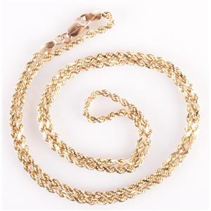 "14k Yellow Gold Twisted Rope Chain W/ Lobster Claw Clasp 22"" Length 11.2g"