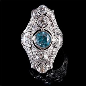 Vintage 1900's Platinum Round Cut Blue Zircon & Diamond Cocktail Ring 4.30ctw