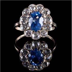 Vintage 1880's 14k Yellow Gold Oval Cut Sapphire & Diamond Halo Ring 3.03ctw