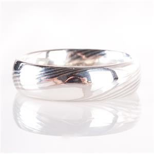 Unique Sterling Silver & Palladium Makume-Gane Style Band 7.8g Size 8.25