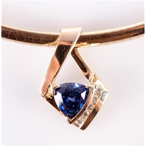 "14k Yellow Gold Tanzanite & Diamond Slide Pendant W/ 16"" Omega Chain 3.0ctw"
