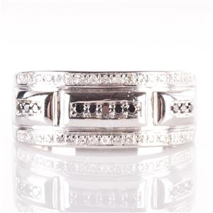 10k White Gold Round Cut Black Diamond & Diamond Cocktail Ring .46ctw