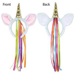 Plush Unicorn Headband with Rainbow Ribbon Costume Accessory