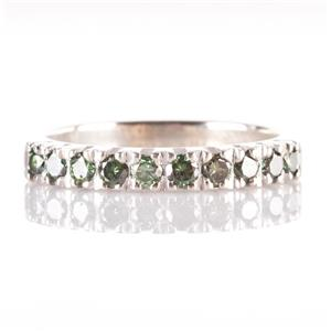 14k White Gold Round Cut Green Diamond Wedding / Anniversary Band .40ctw