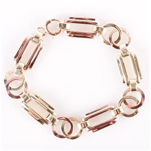 "14k Yellow & Rose Gold Two-Tone Gold Link Bracelet 7.25"" Length 16.8g"