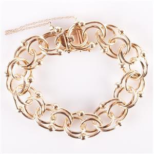 "14k Yellow Gold Heavy Circular Link Bracelet 7"" Length 42.7g"