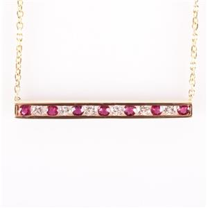 14k Yellow Gold Round Cut Ruby & Diamond Bar Style Necklace 1.18ctw