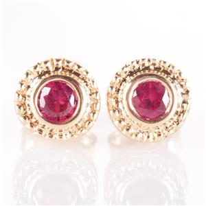 14k Yellow Gold Round Cut Lab Ruby Milgrain Solitaire Stud Earrings .36ctw