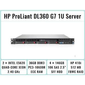 HP ProLiant DL360 G7 1U Server 2xQuad-Core Xeon 2.4GHz + 36GB RAM + 4x146GB SAS