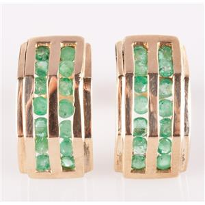 10k Yellow Gold Round Cut Emerald Stud Huggie Earrings .84ctw