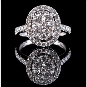 14k White Gold Round Cut Diamond Halo Cluster Engagement Ring 1.48ctw
