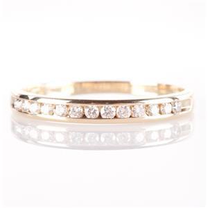 14k Yellow Gold Round Cut Channel Set Diamond Wedding / Anniversary Band .20ctw