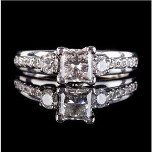 14k White Gold Princess Cut Diamond Engagement Ring W/ EGL Certification 1.20ctw