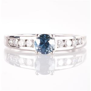 Platinum Blue Sapphire & Diamond Solitaire Engagement Ring W/ Accents 1.12ctw