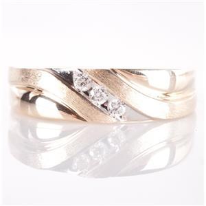 10k Yellow & White Gold Round Cut Diamond Wedding / Anniversary Band .09ctw