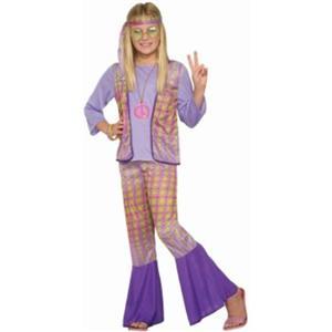 Generation Hippie Love Child Girls Halloween Costume 1970s Flower Power LG 12-14