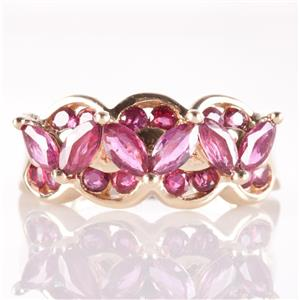 14k Yellow Gold Round & Marquise Cut Ruby Cocktail Ring 1.32ctw