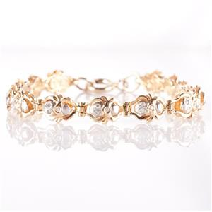 14k Yellow & White Gold Two-Tone Round Cut Diamond Scarab Bracelet .39ctw