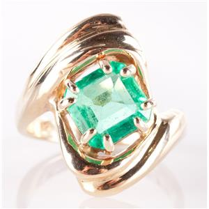 14k Yellow Gold Square Emerald Cut Emerald Solitaire Cocktail Ring 1.66ct