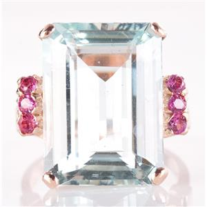 Vintage 1940s 14k Rose Gold Emerald Cut Aquamarine & Ruby Cocktail Ring 13.22ctw