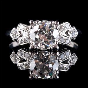 Vintage 1920's Platinum Diamond Solitaire Engagement Ring W/ Accents 1.28ctw