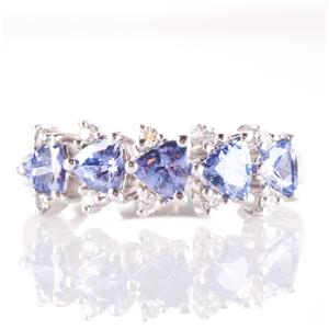 14k White Gold Trillion Cut Tanzanite & Round Cut Diamond Ring 1.25ctw
