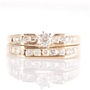 14k Yellow Gold Diamond Solitaire Engagement Wedding Ring Set W/ Accents .50ctw