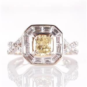 18k White Gold Yellow Diamond Engagement Ring W/ Diamond Accents 1.45ctw