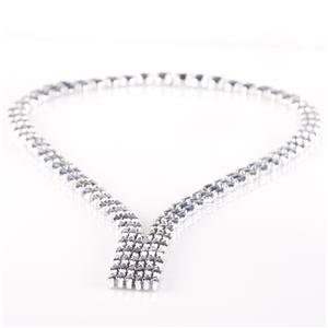 "14k White Gold Marquise Cut Sapphire Collar Necklace 32.4ctw 16"" Length"