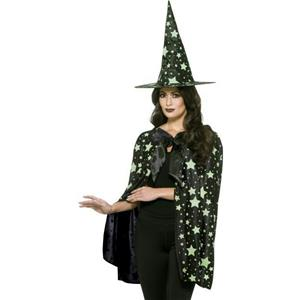 Ladies Midnight Witch Kit Glow In The Dark Green Stars Hat and Cape
