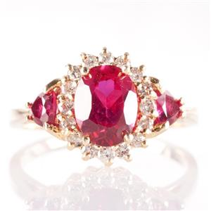 14k Yellow Gold Oval Cut Lab Created Ruby & Round Cut Diamond Halo Ring 2.09ctw