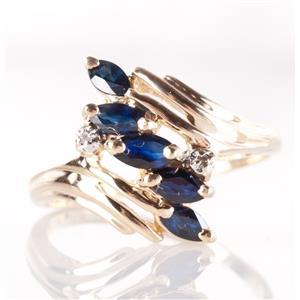 14k Yellow Gold Marquise Cut Sapphire & Diamond Ring .72ctw