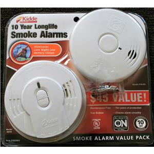 Kidde 10yr Battery 2-Pack Ionization i9010 Photoelectric P3010L Smoke Alarm Set