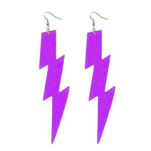 Neon Purple Plastic Glitter Lightning Bolt Earrings Club Candy Accessory