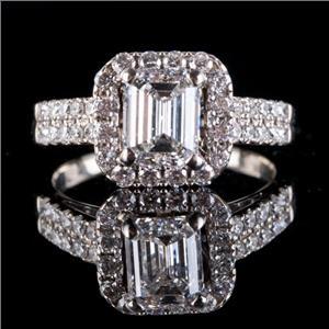 14k White Gold Emerald Cut Diamond Halo Engagement Ring 1.97ctw