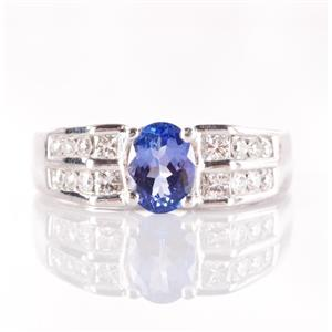 14k White Gold Oval Cut Tanzanite Solitaire Ring W/ Diamond Accents 1.56ctw