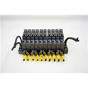 Crouzet Pneumatic Control Valves Manifold Double Sub Base Ports w/ Indicators