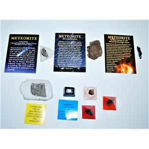 METEORITE Lot of 6 -Various Locations GREAT for TEACHERS & Collectors #13390 11o