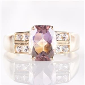 14k Yellow Gold Cushion Cut Ametrine Solitaire Ring W/ Diamond Accents 2.20ctw