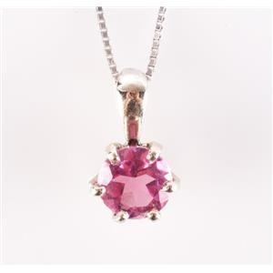 "14k White Gold Round Cut Pink Tourmaline Solitaire Pendant W/ 20"" Chain .50ctw"