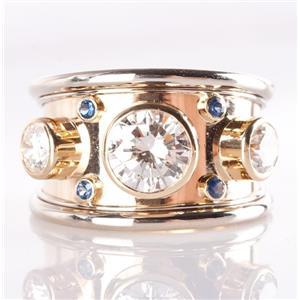 18k Yellow & White Gold Round Cut Diamond & Sapphire Cocktail Ring 2.89ctw