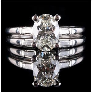 Stunning Platinum Oval Cut Diamond Engagement / Wedding Ring Set 1.98ctw
