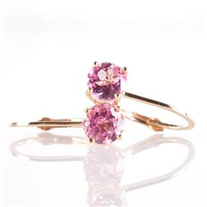 14k Yellow Gold Round Cut Pink Topaz Solitaire Dangle Earrings 1.14ctw