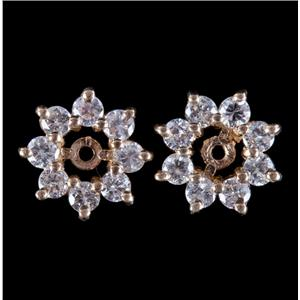 14k Yellow Gold Round Cut Diamond Earring Jackets For Stud Earrings .80ctw