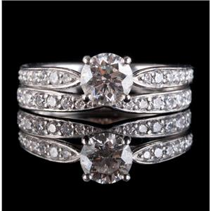 Tiffany & Co Platinum Round Cut Diamond Engagement / Wedding Ring Set .955ctw